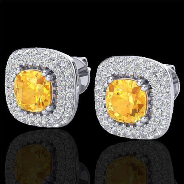 2.16 ctw Citrine & Micro VS/SI Diamond Earrings Halo 18k White Gold - REF-103G6W