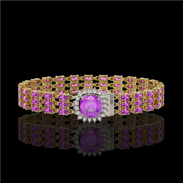 24.75 ctw Amethyst & Diamond Bracelet 14K Yellow Gold - REF-281F8M