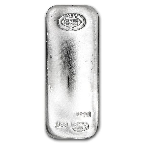 One piece 100 oz 0.999 Fine Silver Bar Asahi - 90500