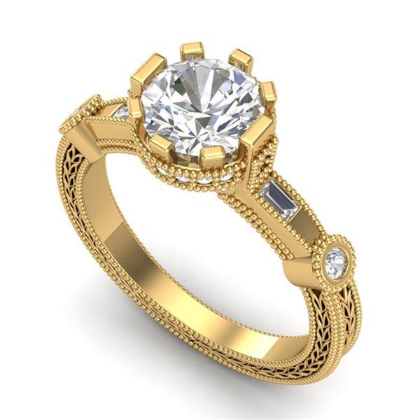 1.71 ctw VS/SI Diamond Solitaire Art Deco Ring 18k Yellow Gold - REF-442W5H