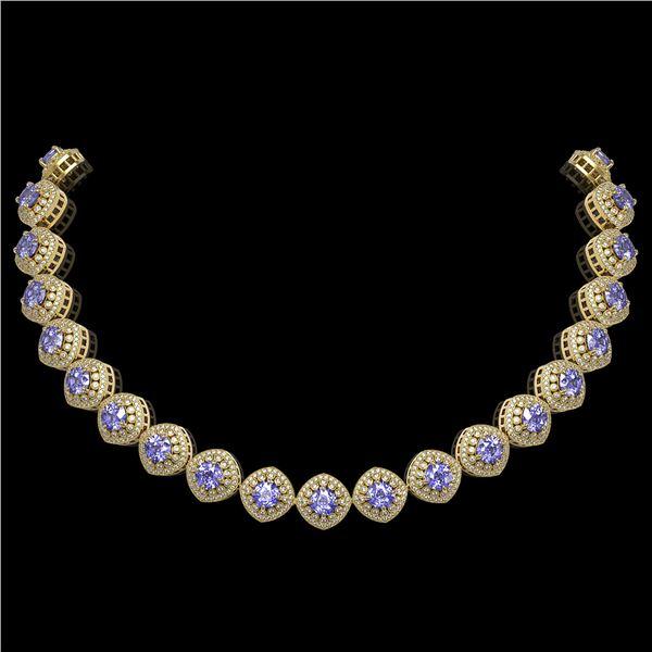 83.82 ctw Tanzanite & Diamond Victorian Necklace 14K Yellow Gold - REF-2511F8M