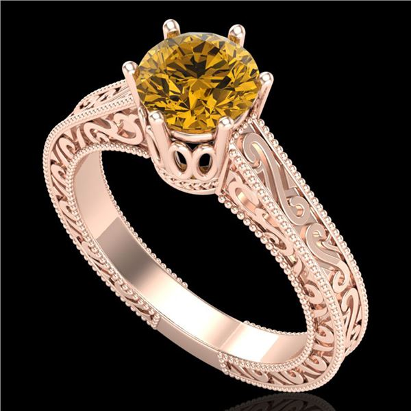 1 ctw Intense Fancy Yellow Diamond Art Deco Ring 18k Rose Gold - REF-236X4A