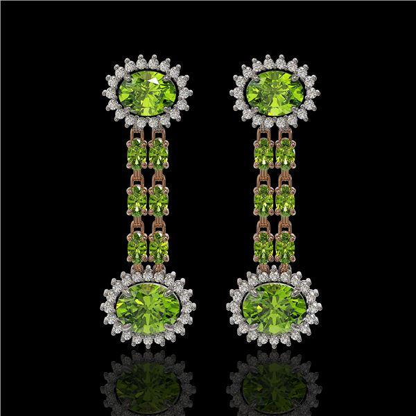 9.21 ctw Peridot & Diamond Earrings 14K Rose Gold - REF-157G5W