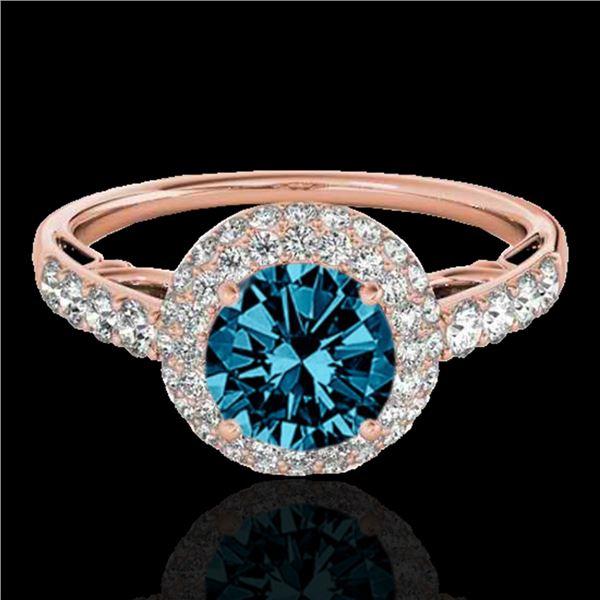 1.65 ctw SI Certified Fancy Blue Diamond Halo Ring 10k Rose Gold - REF-133G6W
