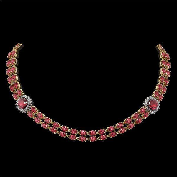 38.37 ctw Tourmaline & Diamond Necklace 14K Yellow Gold - REF-527G3W