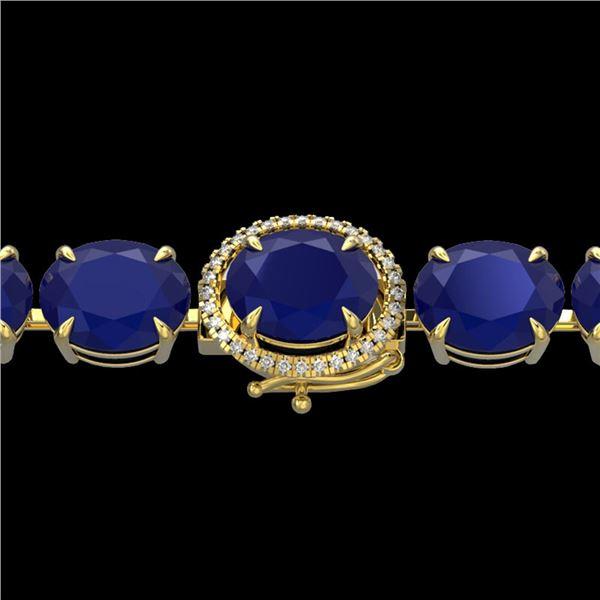 76 ctw Sapphire & Micro Pave Diamond Bracelet 14k Yellow Gold - REF-317K3Y