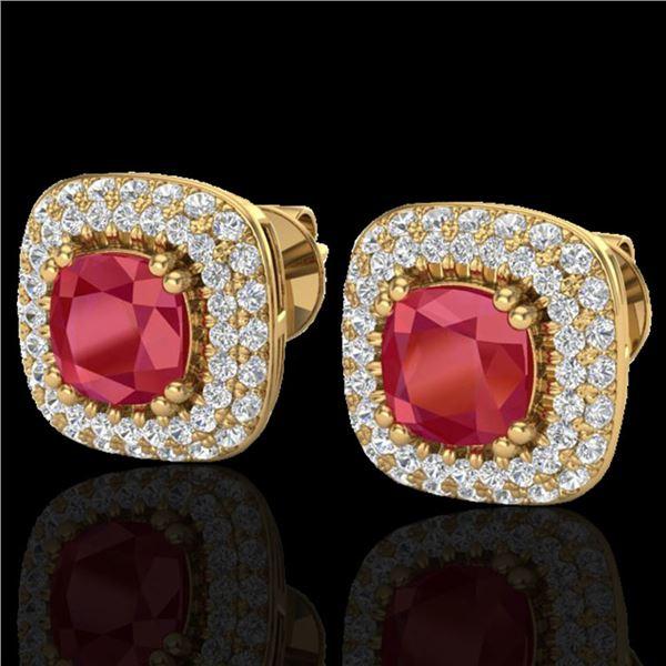 2.16 ctw Ruby & Micro VS/SI Diamond Earrings Halo 18k Yellow Gold - REF-105A6N