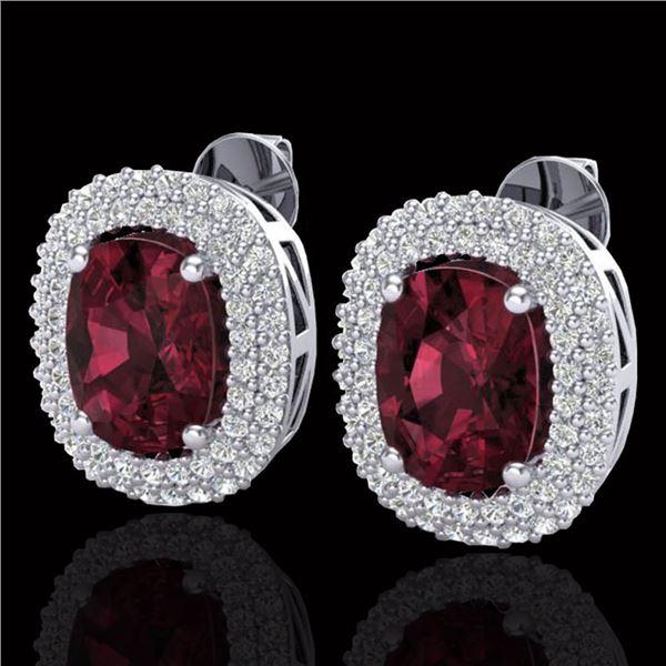 5.20 ctw Garnet & Micro Pave VS/SI Diamond Earrings 10k White Gold - REF-107F3M