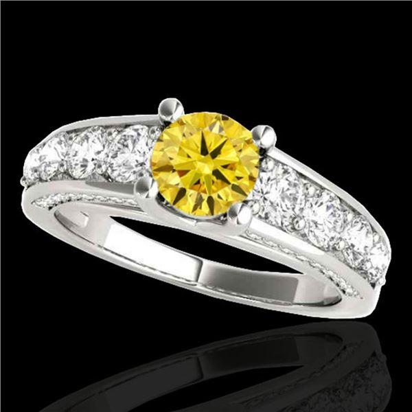 2.55 ctw Certified SI/I Fancy Intense Yellow Diamond Ring 10k White Gold - REF-259R3K
