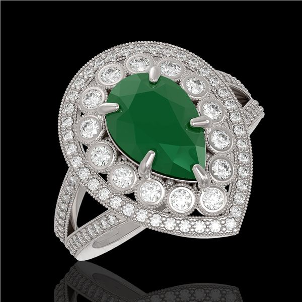 5.12 ctw Certified Emerald & Diamond Victorian Ring 14K White Gold - REF-178X2A