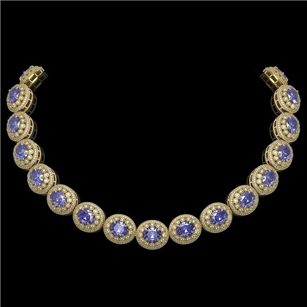 114.35 ctw Tanzanite & Diamond Victorian Necklace 14K Yellow Gold - REF-3400R2K