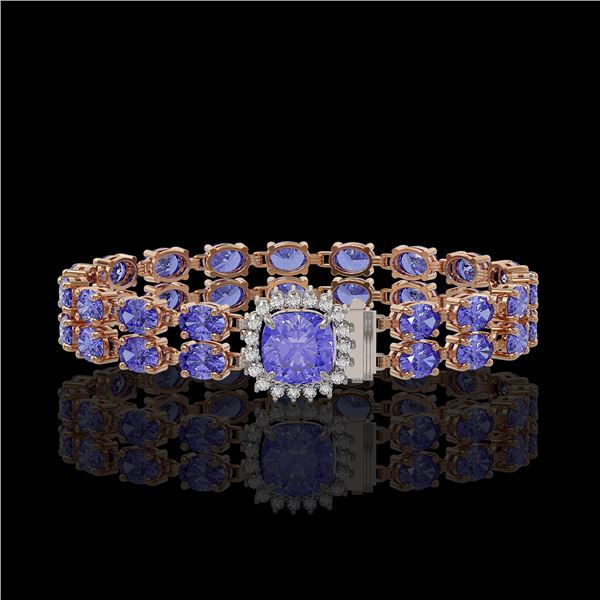 16.96 ctw Tanzanite & Diamond Bracelet 14K Rose Gold - REF-245N5F