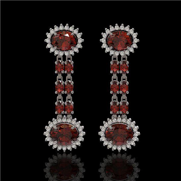 8.87 ctw Garnet & Diamond Earrings 14K White Gold - REF-144F2M