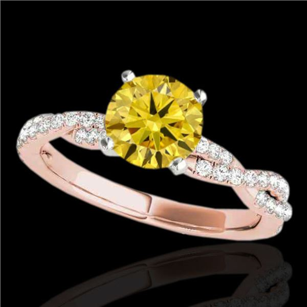1.25 ctw Certified SI/I Fancy Intense Yellow Diamond Ring 10k Rose Gold - REF-163R6K