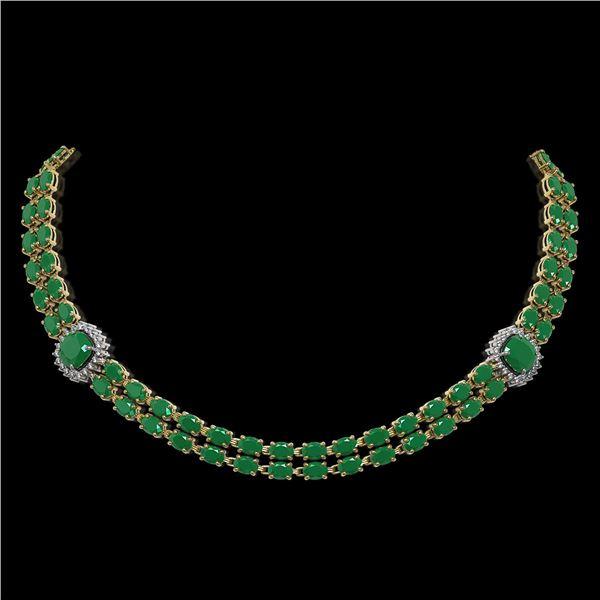 43.97 ctw Emerald & Diamond Necklace 14K Yellow Gold - REF-527M3G