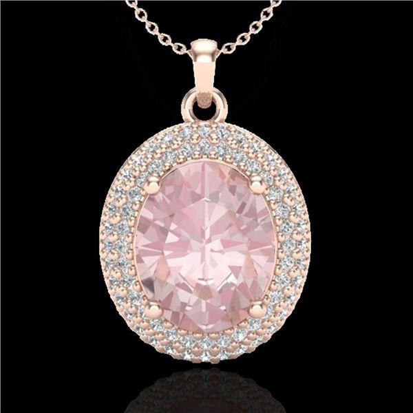 4.50 ctw Morganite & Micro Pave VS/SI Diamond Necklace 14k Rose Gold - REF-150W2H