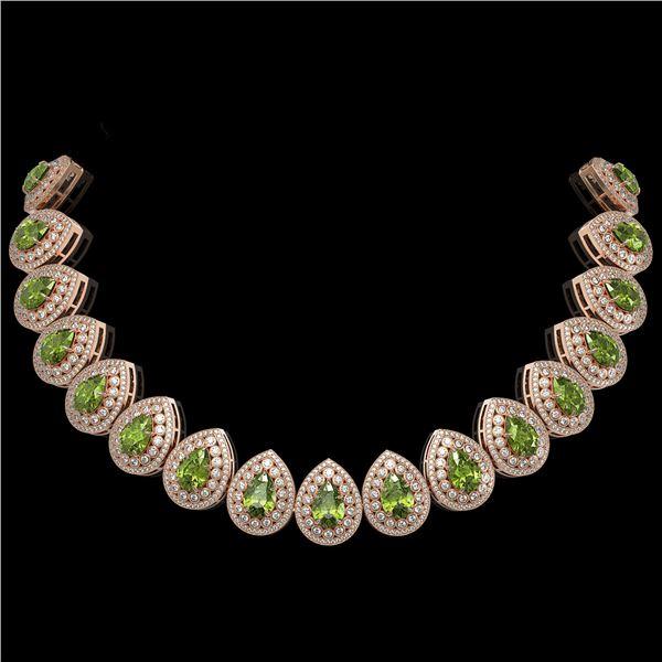 124.02 ctw Tourmaline & Diamond Victorian Necklace 14K Rose Gold - REF-3955Y5X