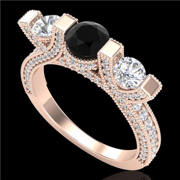 2.3 ctw Fancy Black Diamond Micro Pave 3 Stone Ring 18k Rose Gold - REF-200W2H