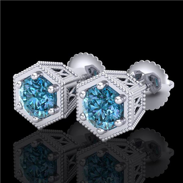 1.15 ctw Fancy Intense Blue Diamond Art Deco Earrings 18k White Gold - REF-127N3F