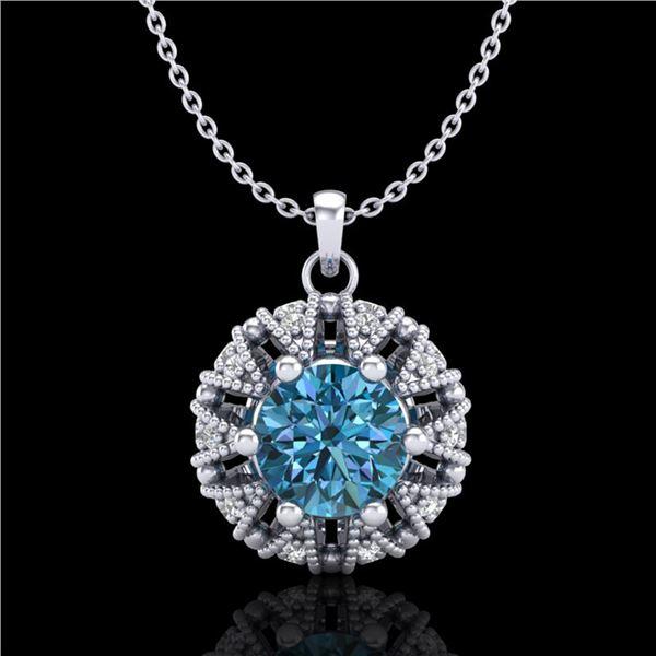 1.2 ctw Fancy Intense Blue Diamond Art Deco Necklace 18k White Gold - REF-118N2F