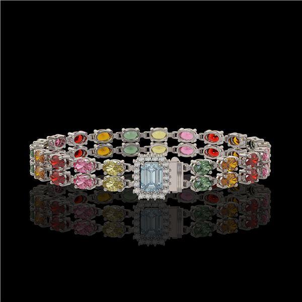 19.34 ctw Sapphire & Diamond Bracelet 14K White Gold - REF-236G4W