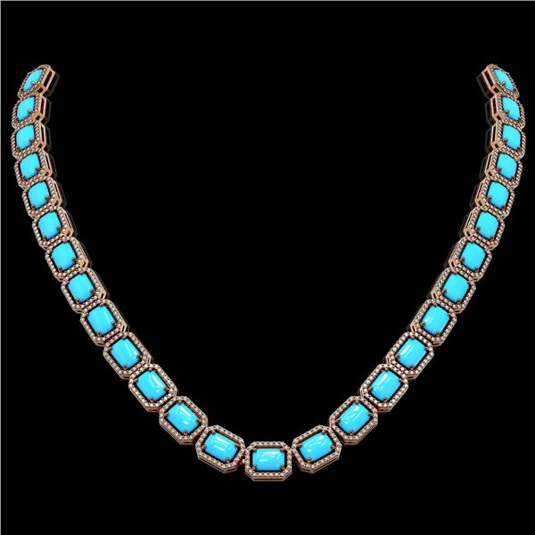 52.89 ctw Turquoise & Diamond Micro Pave Halo Necklace 10k Rose Gold - REF-670N9F