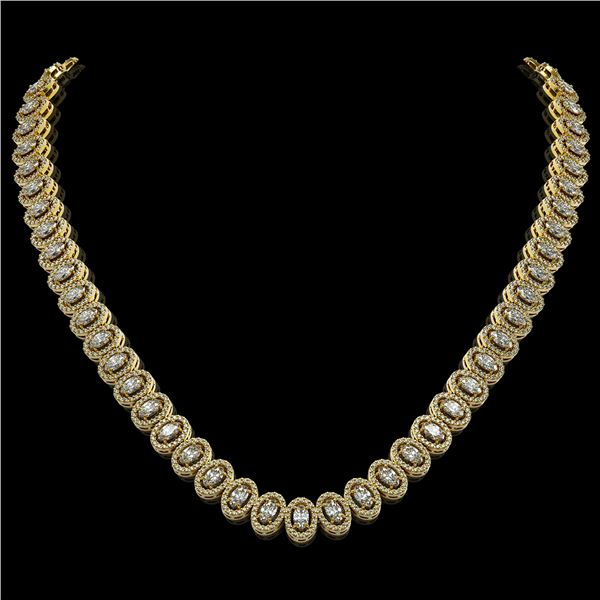 24.19 ctw Oval Cut Diamond Micro Pave Necklace 18K Yellow Gold - REF-2092H6R