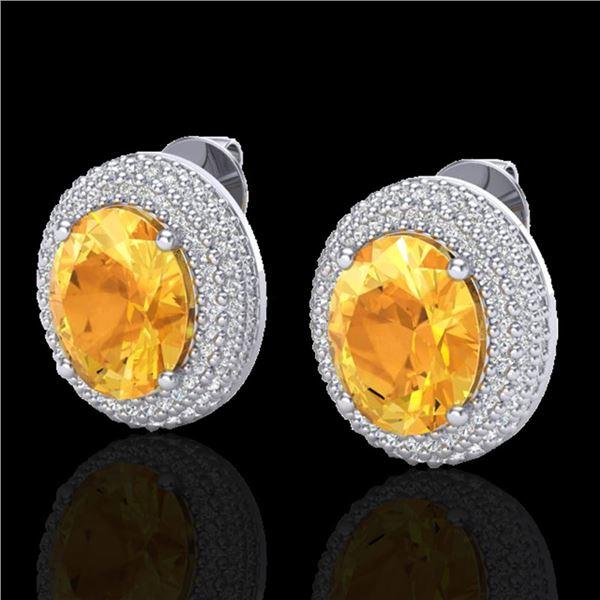 8 ctw Citrine & Micro Pave VS/SI Diamond Earrings 18k White Gold - REF-151G6W