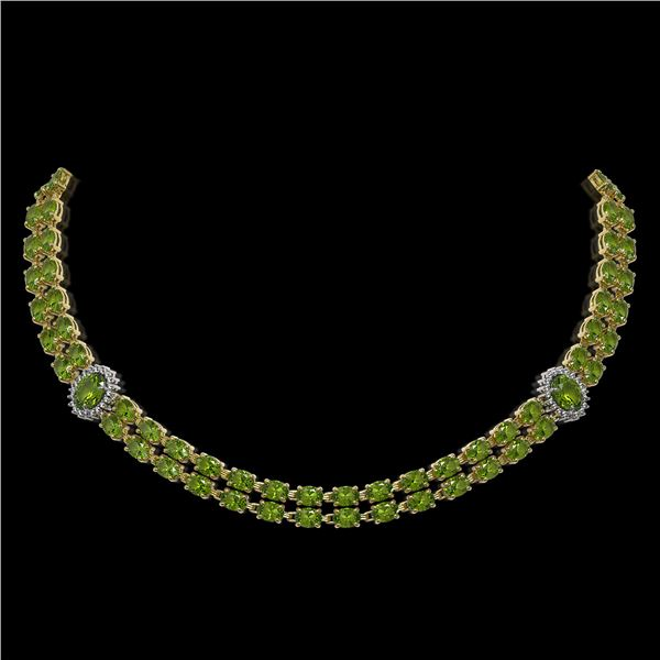 37.23 ctw Tourmaline & Diamond Necklace 14K Yellow Gold - REF-527G3W
