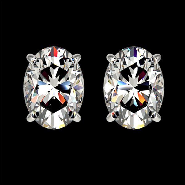 2 ctw Certified VS/SI Quality Oval Diamond Stud Earrings 10k White Gold - REF-478W6H