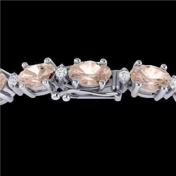 21.2 ctw Morganite & VS/SI Diamond Eternity Bracelet 10k White Gold - REF-290M2G