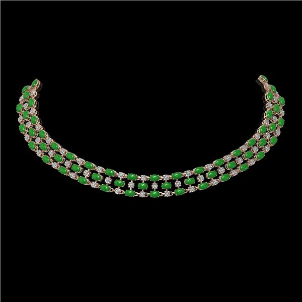 26.75 ctw Jade & Diamond Necklace 10K Rose Gold - REF-427A3N