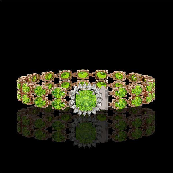 17.4 ctw Peridot & Diamond Bracelet 14K Rose Gold - REF-245G5W