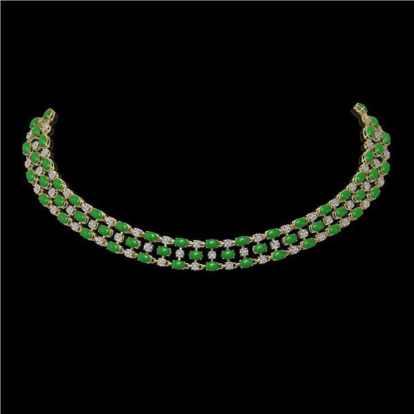 63.65 ctw Jade & Diamond Necklace 10K Yellow Gold - REF-527X3A