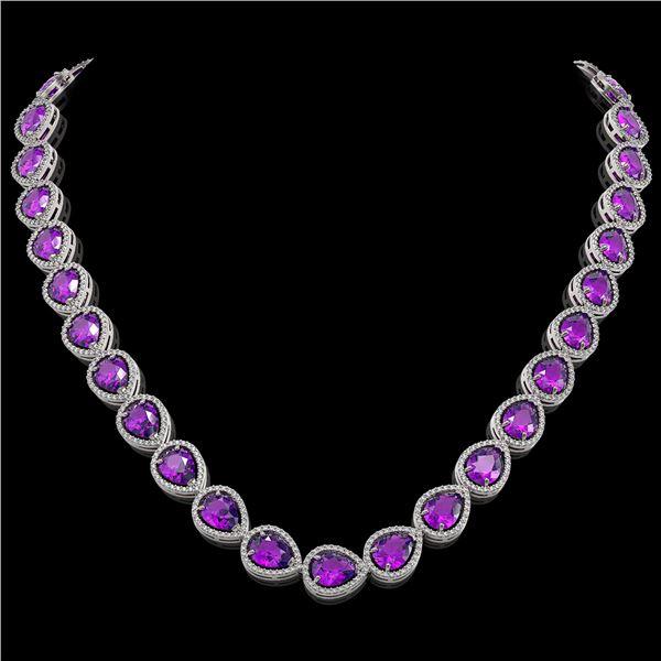 43.2 ctw Amethyst & Diamond Micro Pave Halo Necklace 10k White Gold - REF-603G3W