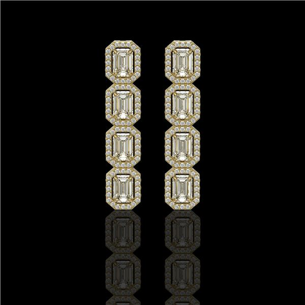 5.33 ctw Emerald Cut Diamond Micro Pave Earrings 18K Yellow Gold - REF-804N5F