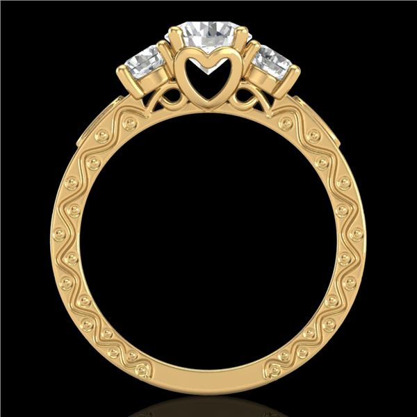 1.41 ctw VS/SI Diamond Solitaire Art Deco 3 Stone Ring 18k Yellow Gold - REF-263A6N