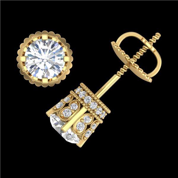 1.75 ctw VS/SI Diamond Solitaire Art Deco Stud Earrings 18k Yellow Gold - REF-249A3N