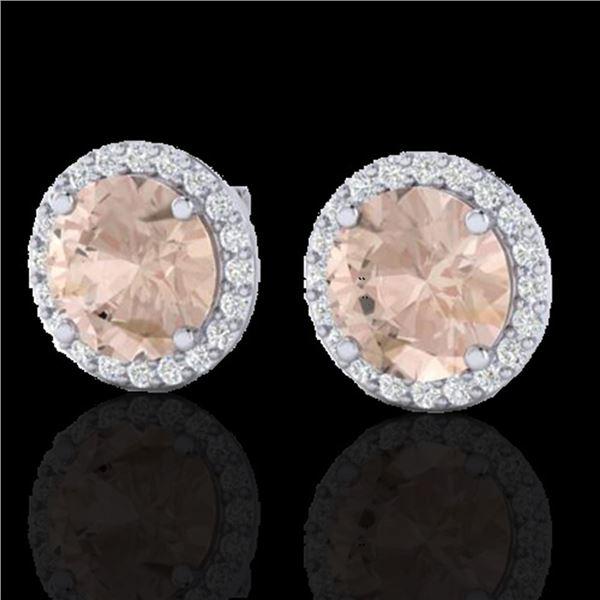 3 ctw Morganite & Halo VS/SI Diamond Micro Pave Earrings 18k White Gold - REF-81X3A