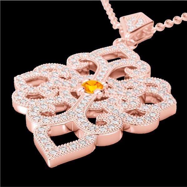 1.40 ctw Citrine & Micro Pave VS/SI Diamond Necklace 14k Rose Gold - REF-127H3R