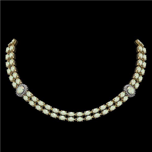 30.05 ctw Opal & Diamond Necklace 14K Yellow Gold - REF-527M3G