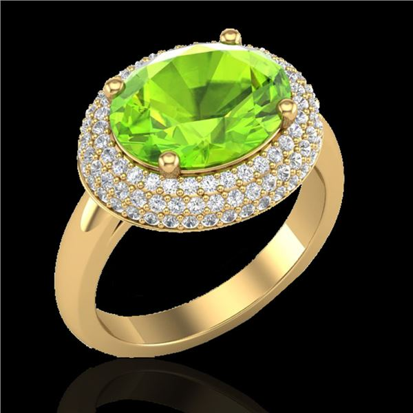 4.50 ctw Peridot & Micro Pave VS/SI Diamond Ring 18k Yellow Gold - REF-116A2N