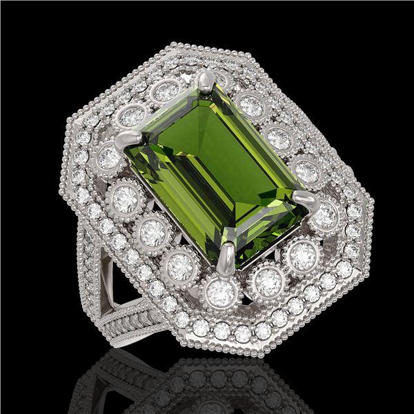 6.08 ctw Certified Tourmaline & Diamond Victorian Ring 14K White Gold - REF-208N8F