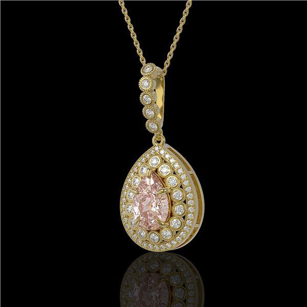 4.17 ctw Morganite & Diamond Victorian Necklace 14K Yellow Gold - REF-186N9F
