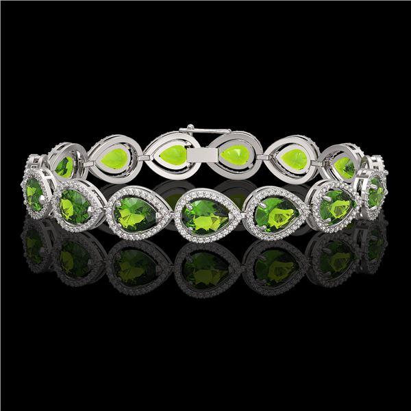 15.8 ctw Peridot & Diamond Micro Pave Halo Bracelet 10k White Gold - REF-316F8M