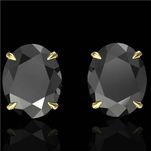 10 ctw Black Diamond Designer Stud Earrings 18k Yellow Gold - REF-218Y2X