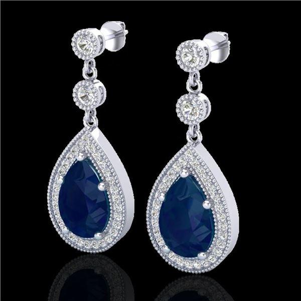 6 ctw Sapphire & Micro Pave VS/SI Diamond Earrings 18k White Gold - REF-93W8H