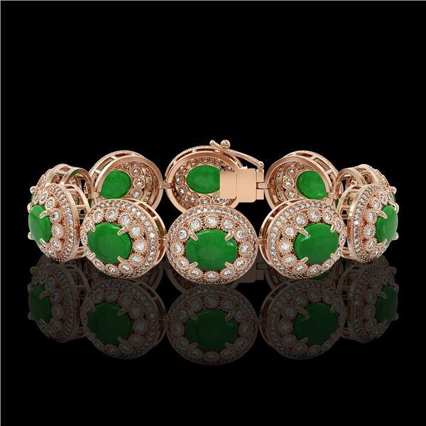 44.77 ctw Jade & Diamond Victorian Bracelet 14K Rose Gold - REF-1184M2G