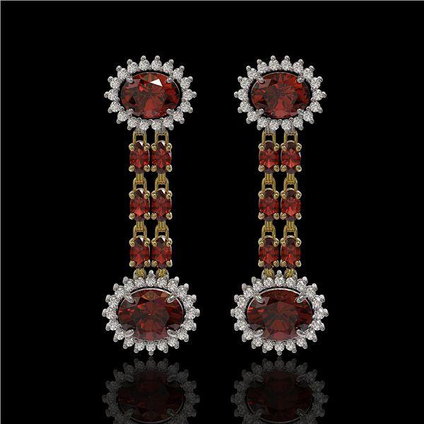 8.87 ctw Garnet & Diamond Earrings 14K Yellow Gold - REF-144H2R