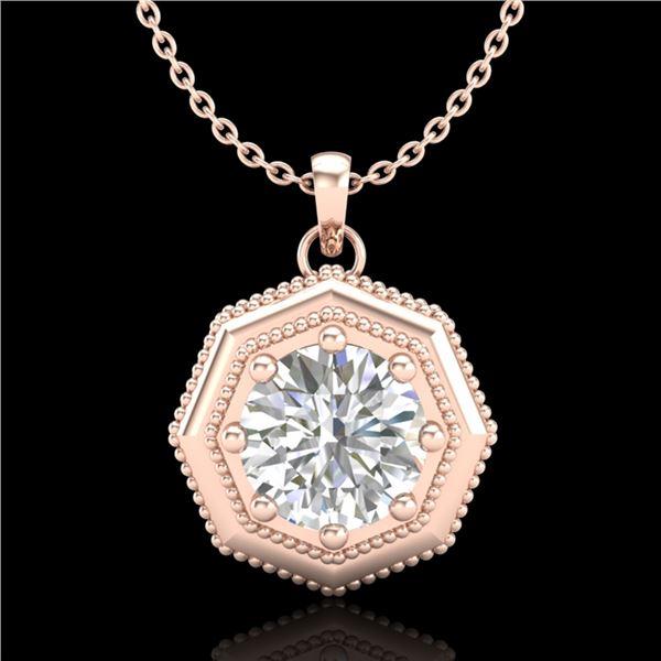 0.75 ctw VS/SI Diamond Solitaire Art Deco Stud Necklace 18k Rose Gold - REF-180X2A
